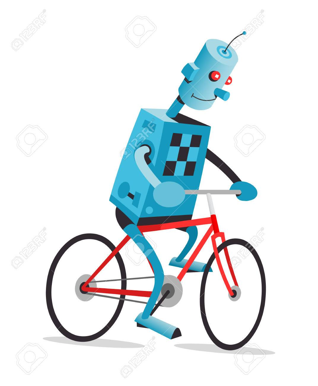 1072x1300 Robot Is Riding The Red Bike, Vector Cartoon Illustration Royalty