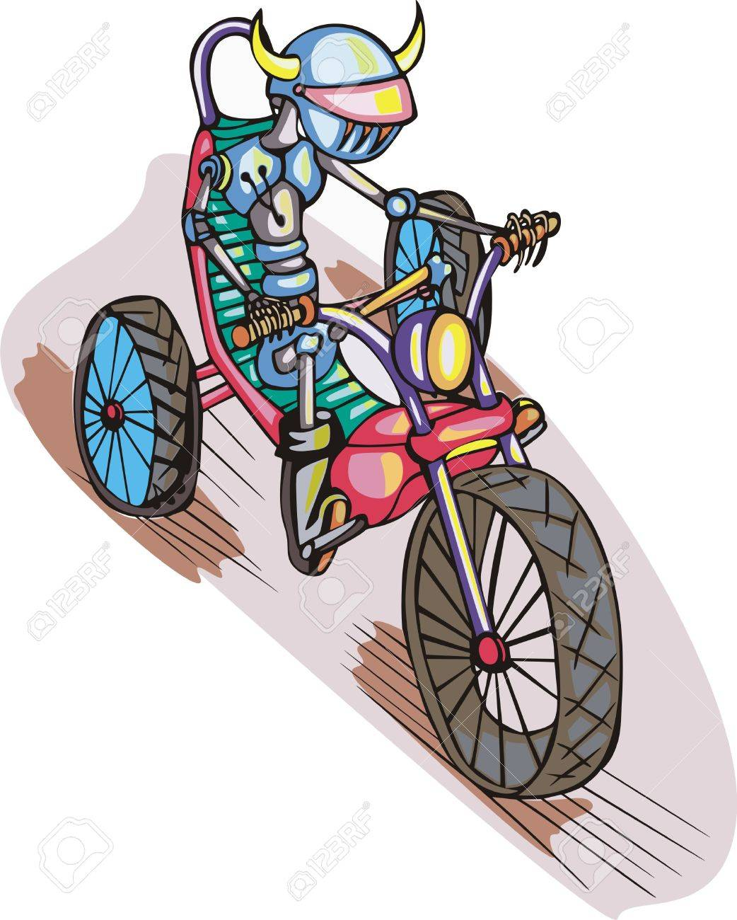 1042x1300 Robot On Bike Cartoon Royalty Free Cliparts, Vectors, And Stock