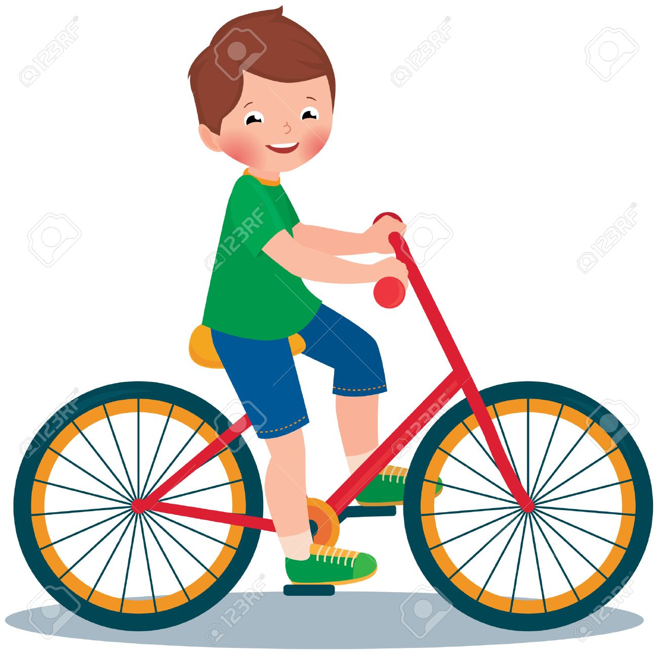 1300x1291 Stock Vector Cartoon Illustration Of A Boy Child Rides A Bike