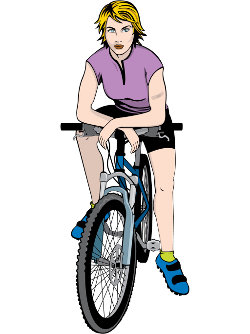 512x683 Women Bike Cartoon