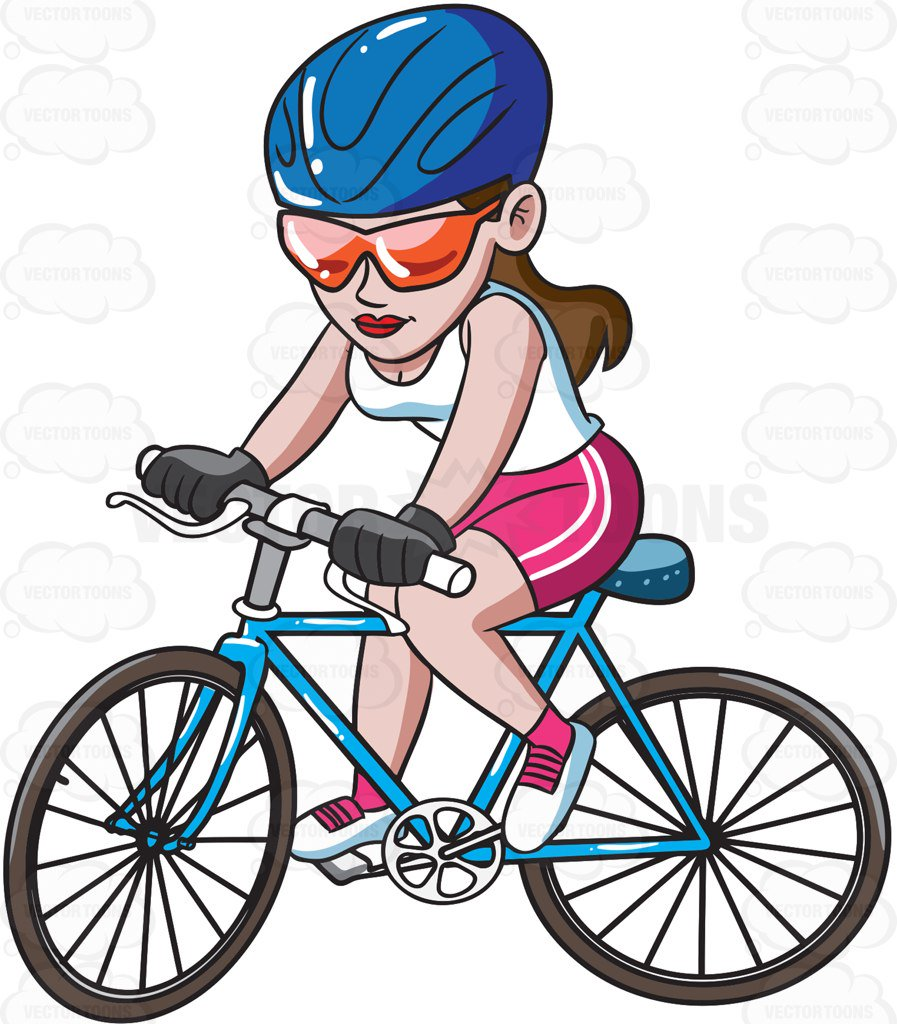 897x1024 A Woman Riding A Mountain Bike Cartoon Clipart