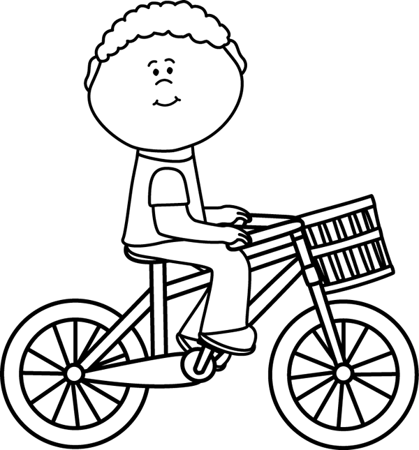 600x645 Black Amp White Boy Riding A Bicycle With A Basket Clip Art