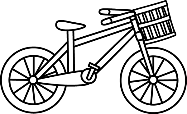 600x367 Black And White Bicycle With A Basket Clip Art