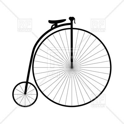 400x400 Retro Bicycle With Big Wheel Royalty Free Vector Clip Art Image