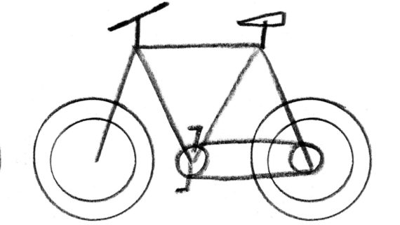 570x320 Simple Drawing Of Bike Clip Art Bicycle Route Sign Black White