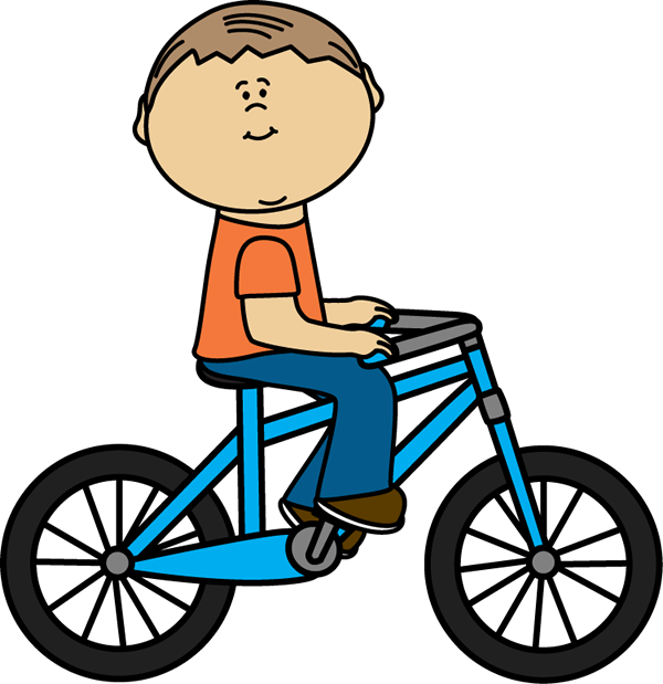 600x619 Boy Riding A Bicycle Clip Art