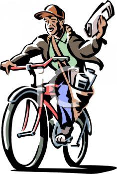 235x350 Retro Clip Art Of A Paper Boy On His Bike
