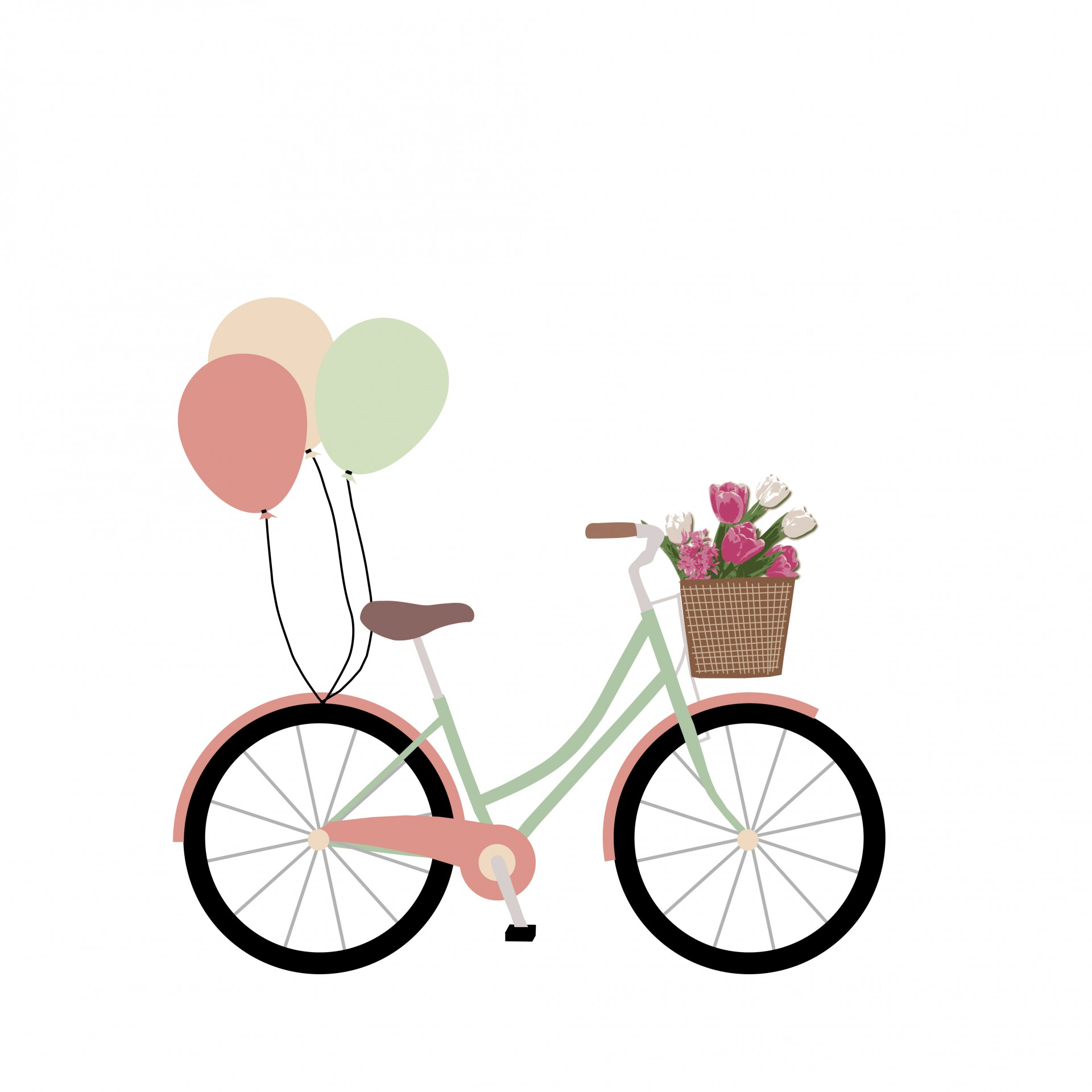 1920x1920 Bike, Bicycle With Balloons Clipart Free Stock Photo
