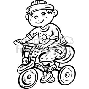 300x300 Royalty Free Boy Riding His Bike 381548 Vector Clip Art Image