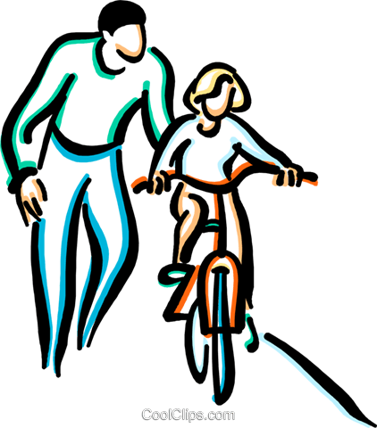 422x480 Little Girl Learning To Ride A Bicycle Royalty Free Vector Clip