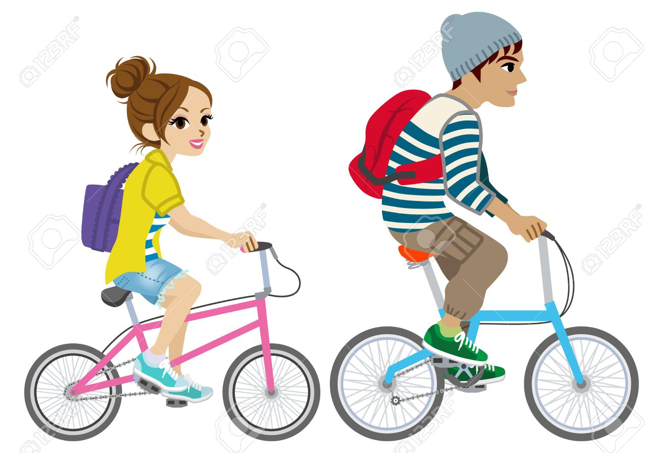 1300x888 Young Couple Riding Bicycle, Isolated Royalty Free Cliparts