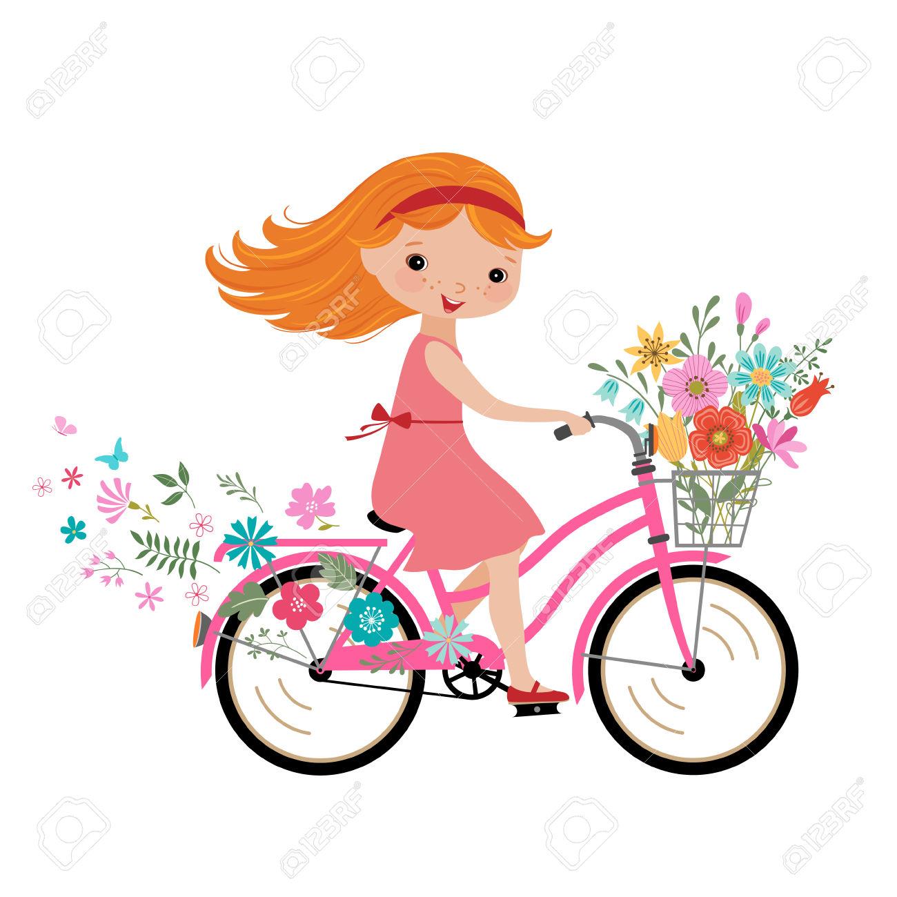 1300x1300 Clipart Of A Little Girl Riding A Bike