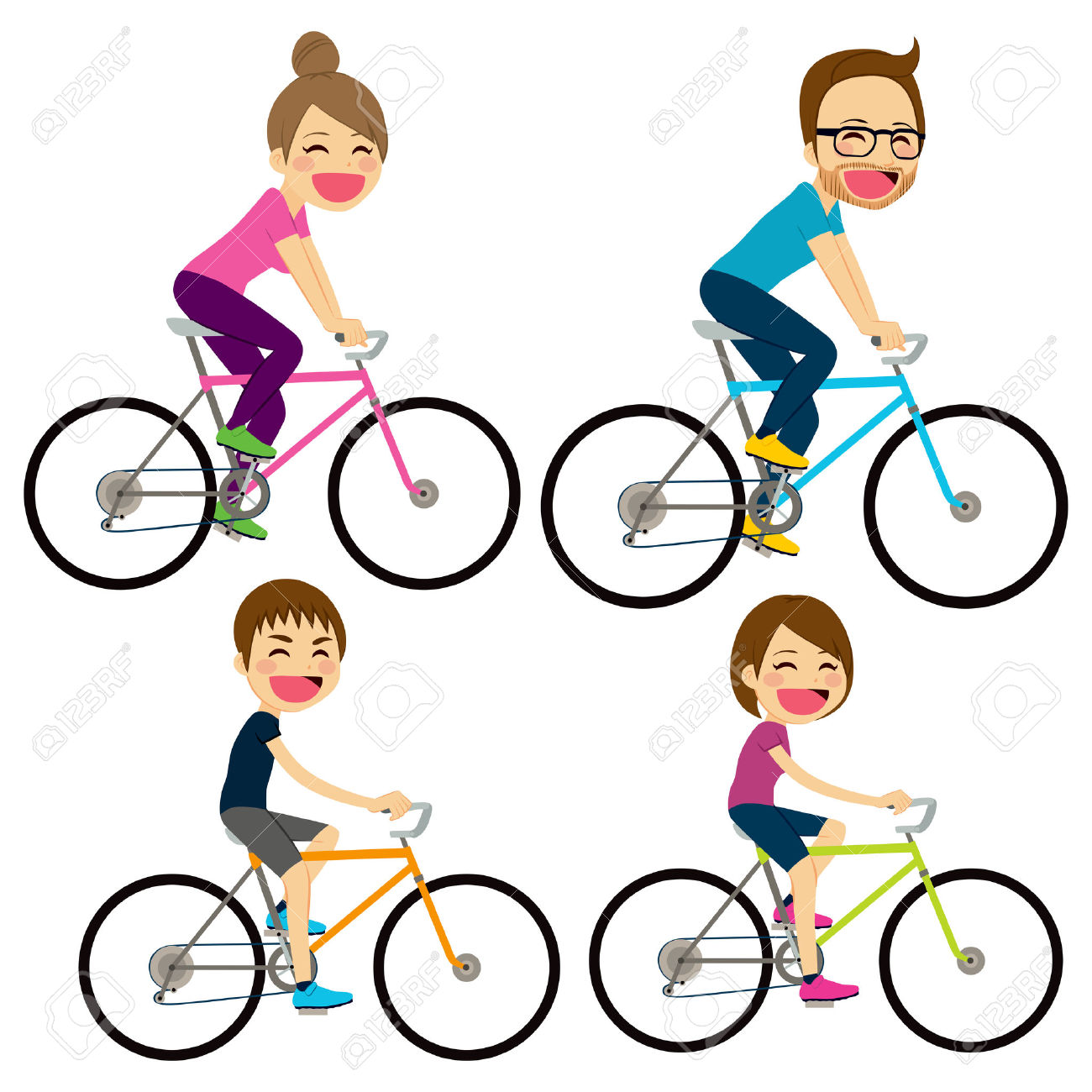 1300x1300 Bicycle Clipart Family Cycling