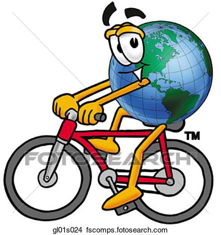 441x470 Clipart Of Globe Man Riding Bike Gl01s024