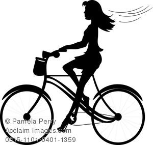 300x285 Girl Riding A Bike Clipart
