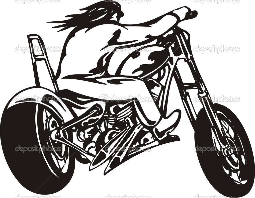 1023x794 Harley Davidson Girl And Bike Clipart