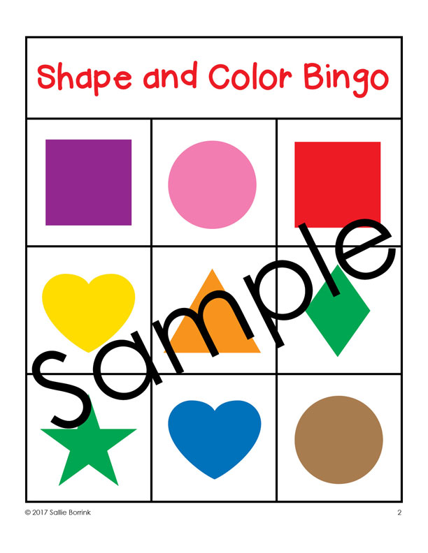 612x792 Shapes And Colors Bingo Game Cards 3x3