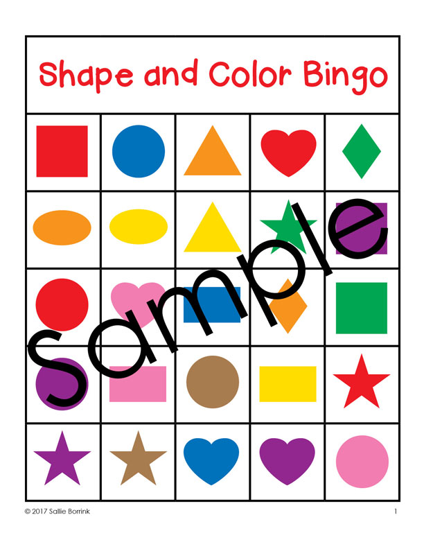 612x792 Shapes And Colors Bingo Game Cards 5x5