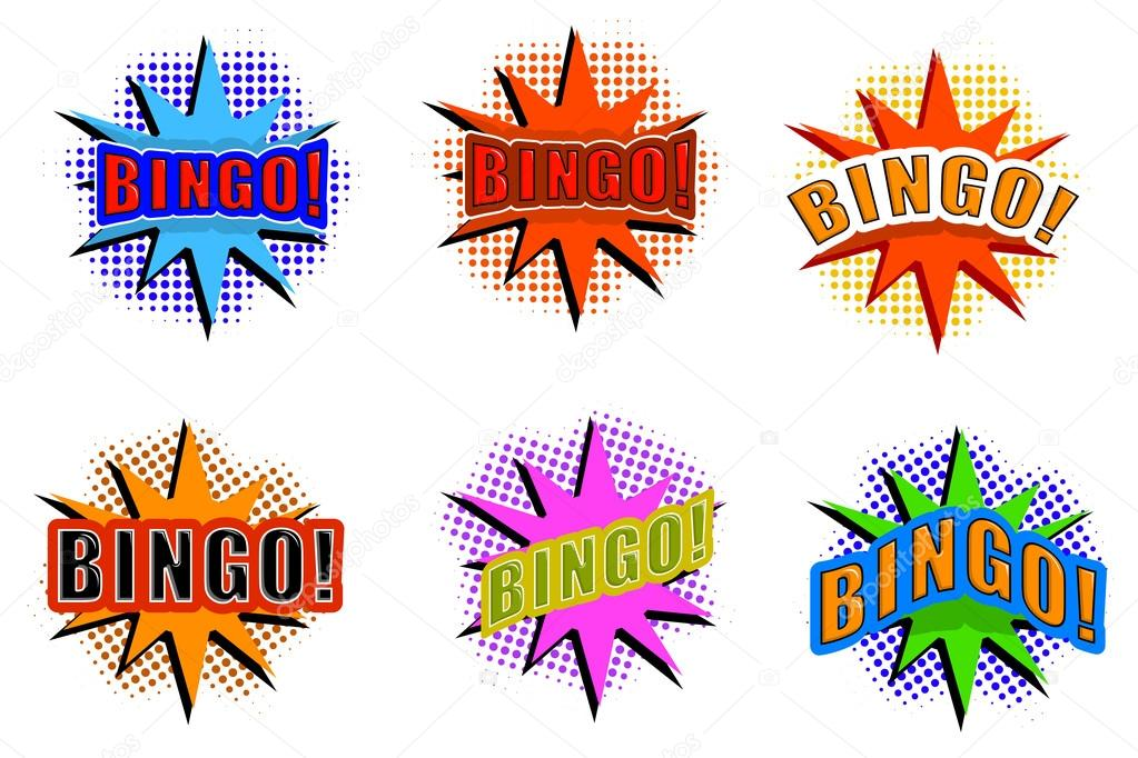 1023x682 Cartoon Set Of Explosions Wizh Bingo Stock Vector Lapotnik