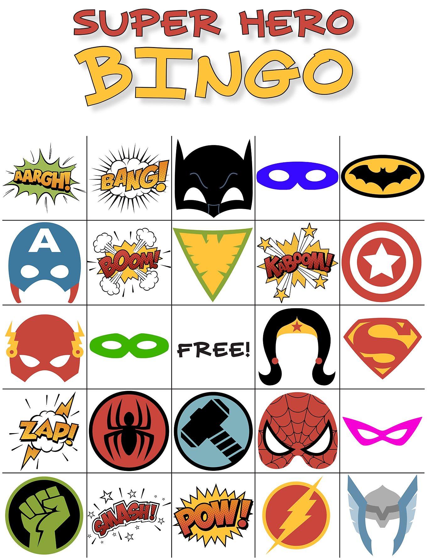 1360x1784 Free Printable Super Hero Bingo Party