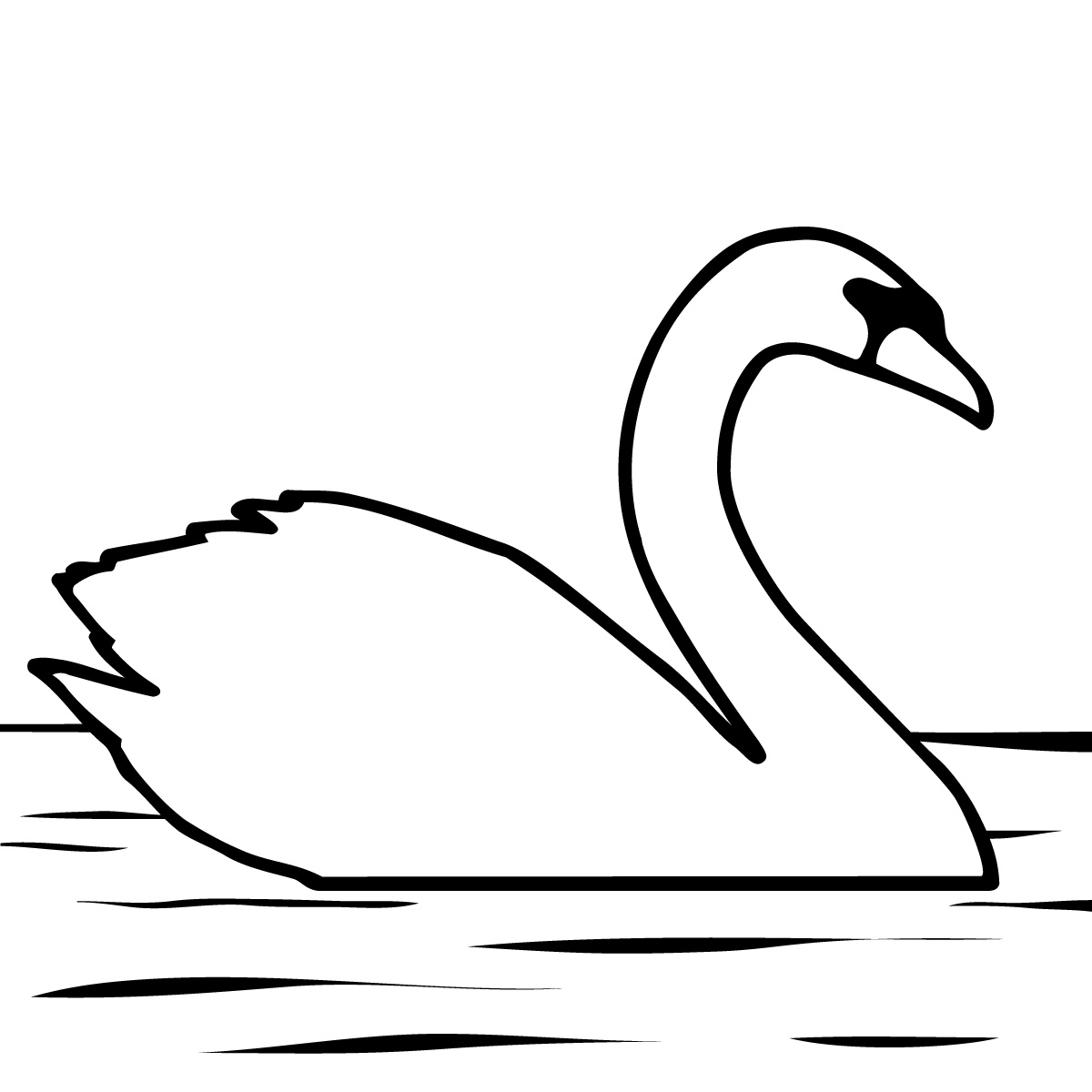 1200x1200 Clip Art Black And White Swan Clipart