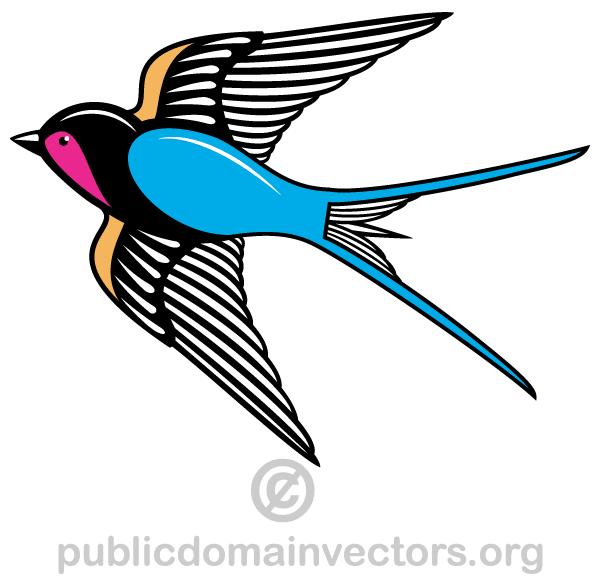 600x580 Flying Swallow Bird Vector Art 123freevectors