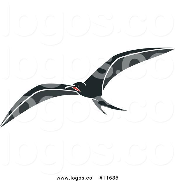 600x620 Royalty Free Clip Art Vector Logo Of A Flying Wild Albatross Bird