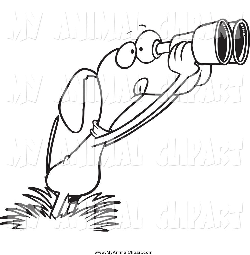1024x1044 Clip Art Of A Black And White Bird Dog Using Binoculars By