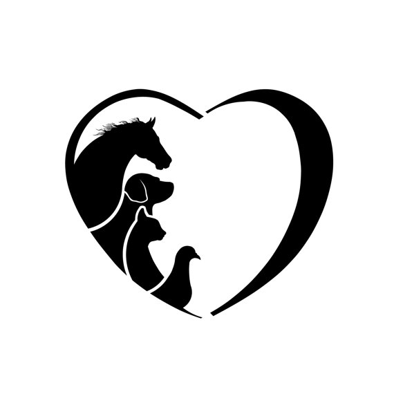 570x570 Clipart Horse Dog Cat Bird Love Heart. Concept Of Animal Love