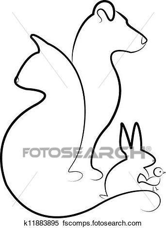 342x470 Clipart Of Cat, Dog, Rabbit And Bird K11883895