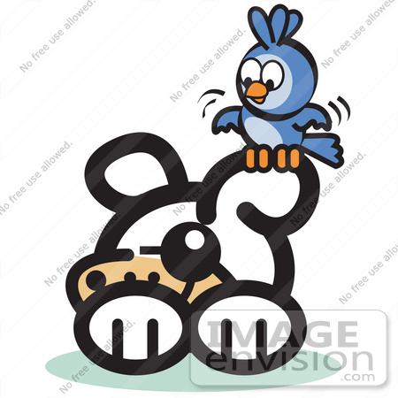 450x450 Royalty Free Cartoon Clip Art Of A Blue Bird Sitting On A Dog'S