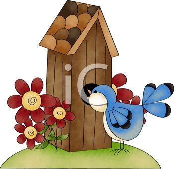 350x340 Bird House Clipart Cartoon
