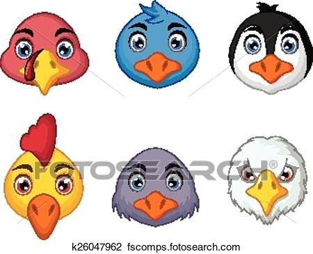 450x365 Clipart Of Bird Head Cartoon K26047962