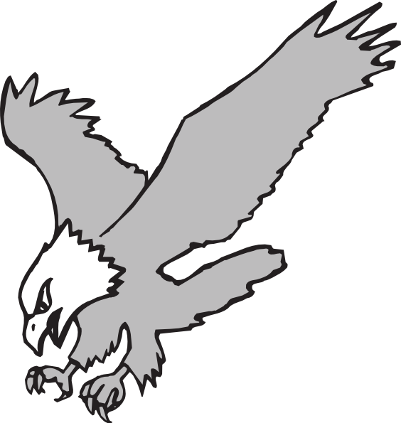 564x595 Grayscale Hunting Eagle Clip Art