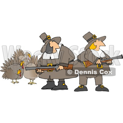 400x400 Pilgrim Women Armed With Turkey Bird Hunting Musket Guns Clipart
