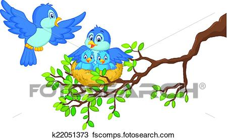 450x278 Clipart of Birds with her two babies in the ne k22051373