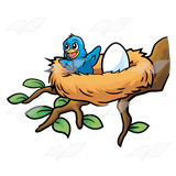 160x160 baby bird in nest clipart