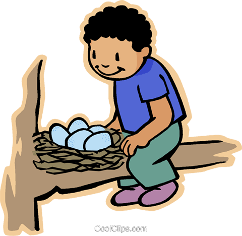 480x468 boy with bird nest, bird eggs Royalty Free Vector Clip Art