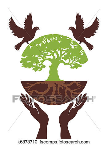 351x470 Clipart Of Eco Tree With Bird And Hand. Vector K6878710