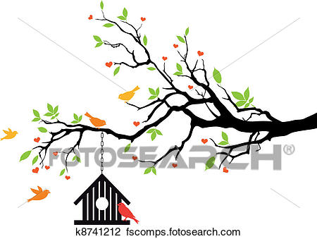 450x339 Clipart Of Bird House On Spring Tree, Vector K8741212