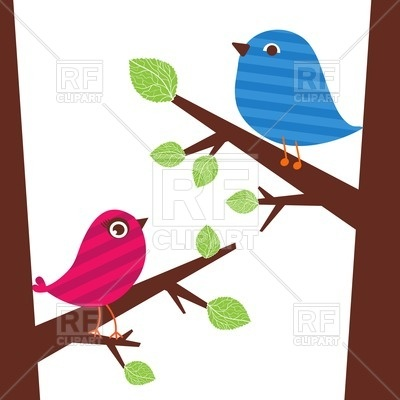 400x400 Couple Of Cute Birds Sitting On The Tree Branch Royalty Free