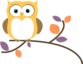 329x256 Yellow Owl On A Branch Clip Art