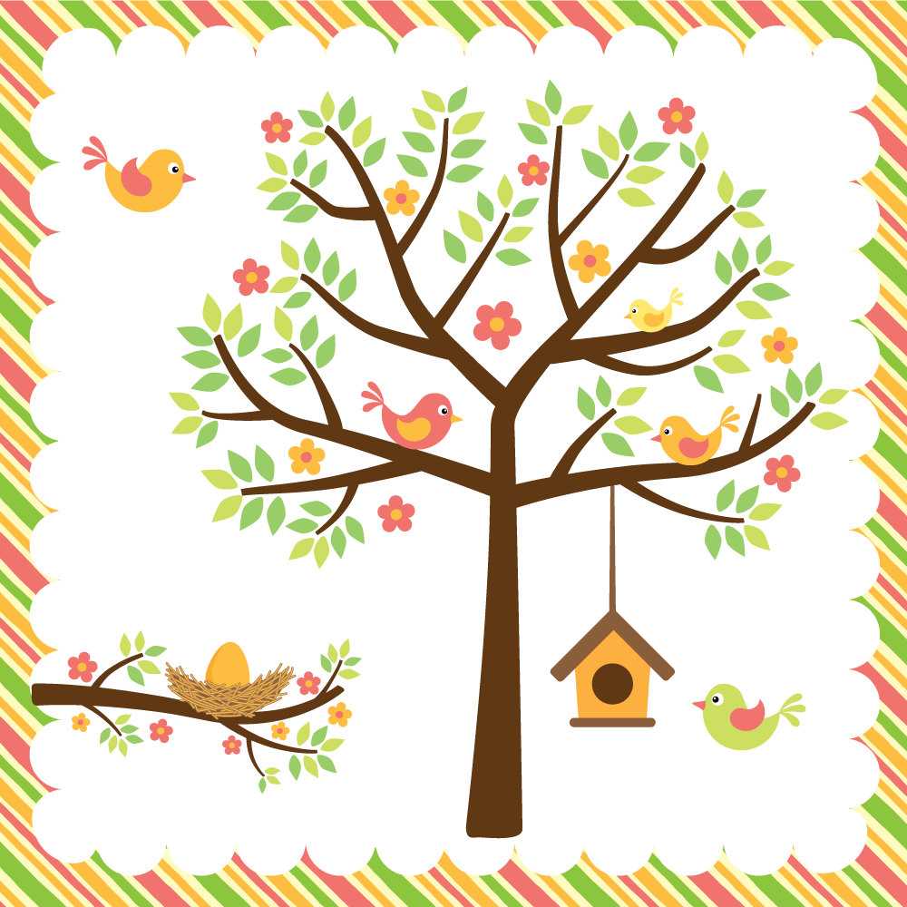 1000x1000 Bird House Clipart Tree Branch Clip Art