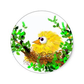 324x324 Birds Nest Cartoon Stickers Zazzle