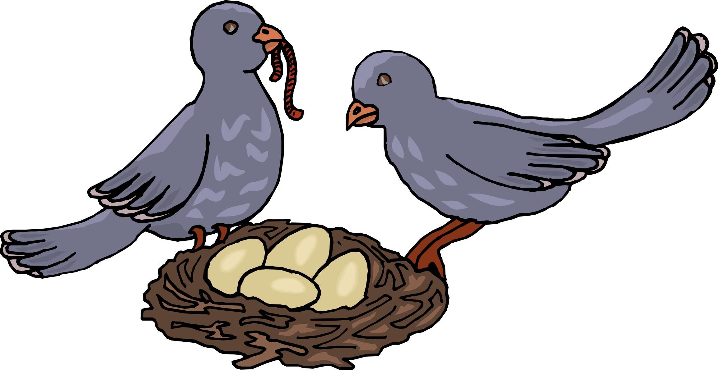 2308x1191 Cartoon Birds With Nest Bird