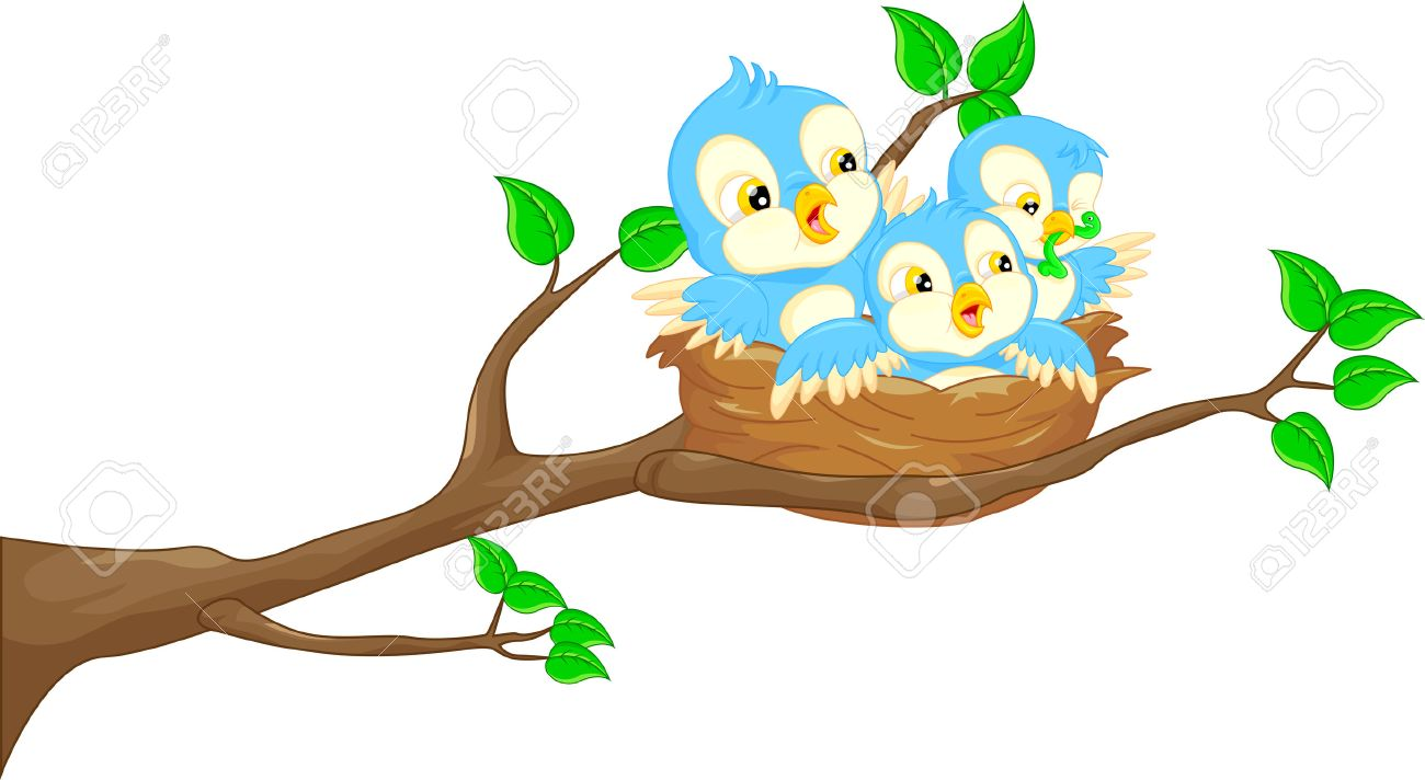 1300x712 Flying Bird And Baby Bird In The Nest Royalty Free Cliparts