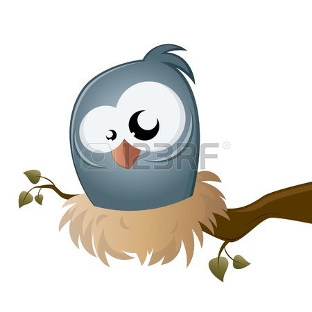 450x450 Funny Cartoon Bird Sitting In A Nest Royalty Free Cliparts