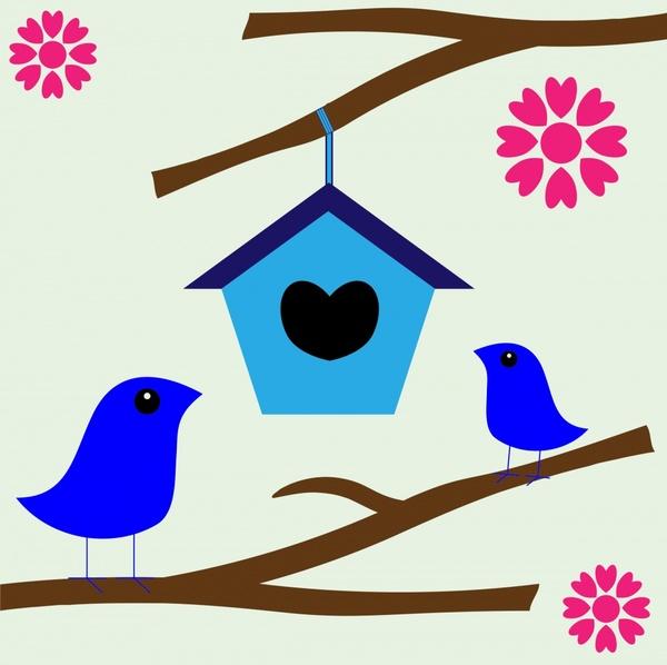 600x598 Romantic Abstract Birds Nest Illustration With Cartoon Style Free