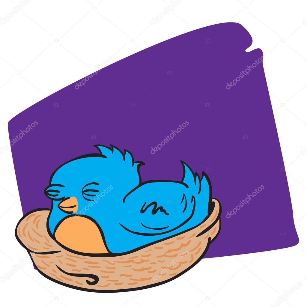 1024x1024 Blue Bird Sleeping In A Nest Cartoon Illustration Stock Vector