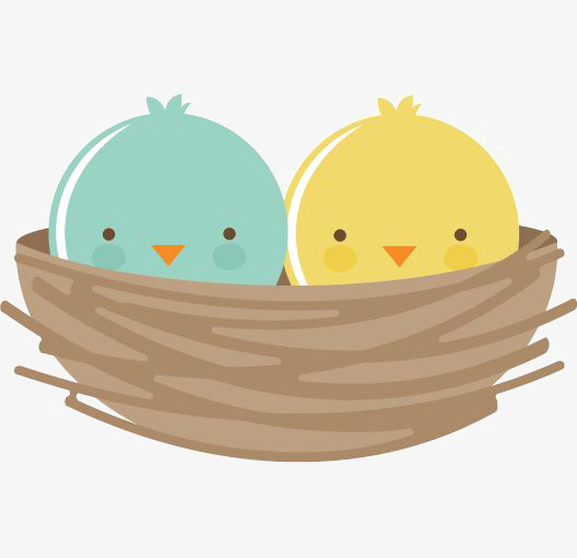 528x510 Cartoon Bird, Hand Painted Birdie, Bird Nest, Cute Bird Png Image